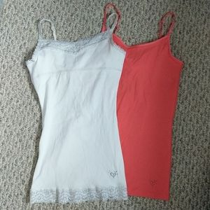2 Justice girls 10 tank tops in coral & white lace